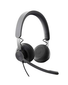Logitech Zone Wired Noise Cancelling Headset - Certified for Microsoft Teams with Advanced Noise-canceling mic Technology for Open Office environments - USB-C with USB-A Adapter - Graphite.