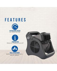 Lasko 7050 Misto Outdoor Misting Fan - Features Cooling Misters - Ideal For Camping - Patios - Picnics - & More