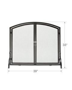Uniflame - S-1062 - Medium Single Panel Black Wrought Iron Screen with Doors