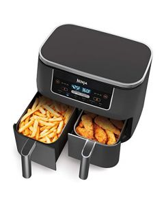 Ninja DZ201 Foodi 6-in-1 2-Basket Air Fryer with DualZone Technology, 8-Quart Capacity, and a Dark Grey Stainless Finish