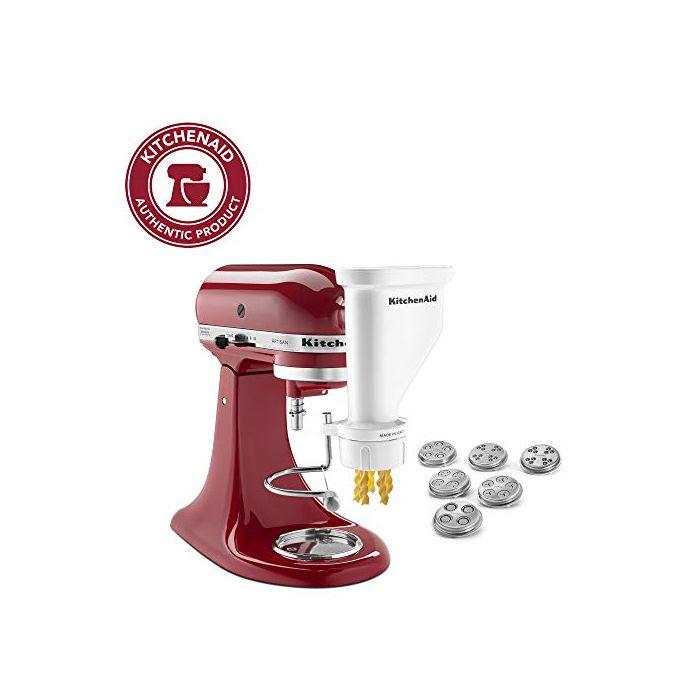 KitchenAid Gourmet Pasta Press Attachment with 6 Interchangeable Pasta Plates - White