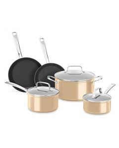 KitchenAid Hard Anodized Non-Stick 8-Piece Set KC3H1S08TZ - Toffee Delight