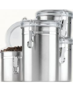 Anchor Hocking Round Stainless Steel Canister Set With Clear Acrylic Lid And Locking Clamp - 4-Piece Set - 24954
