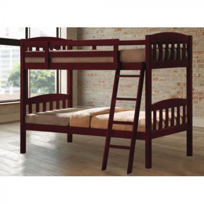 Tope Mahogany Twin Over Twin Bunk Bed