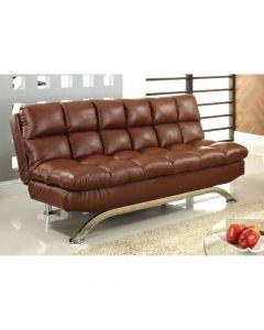 Futon Sofa Contemporary Leatherette Seat Saddle Brown/Chrome