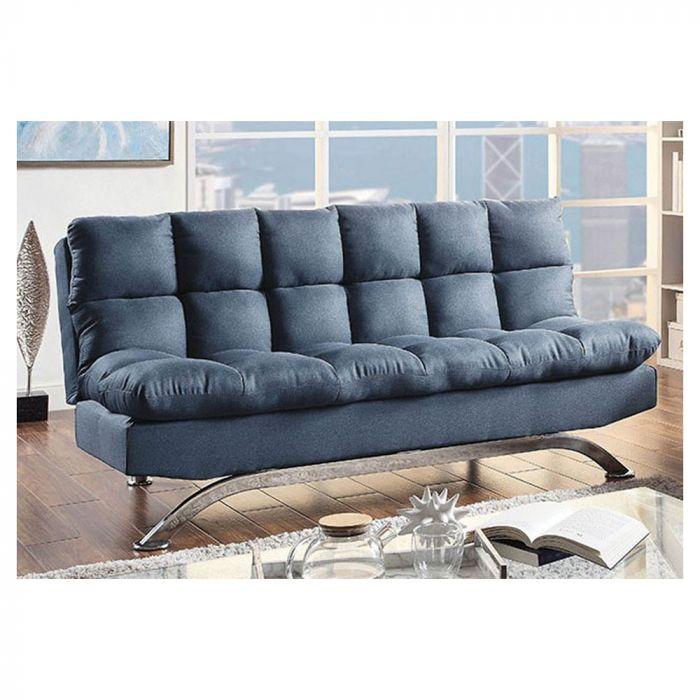 Futon Sofa Contemporary Leatherette Seat Blue/Chrome Blue/Chrome