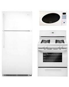 Summer Bundle Frigidaire FRT18G2N Refrigerator / Stove FFGF3015LW Gas Range / Sunbeam SGA3701 700 watt Microwave