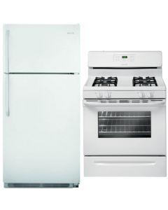 Frigidaire Bundle: FFTR1821QW 18 cu. ft. Top Freezer Refrigerator + FFGF3021ZW 30'' Freestanding Gas Range