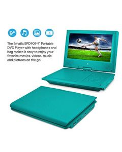 Ematic Portable DVD Player with 9-inch LDC Swivel Screen - Travel Bag and Headphones - Teal