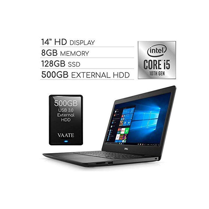 Dell Inspiron 2020 14? HD Laptop Computer - 4-Core Intel i5-1035G4 up to 3.7 GHz - Iris Plus Graphics - 8GB RAM - 128GB SSD - Webcam - Bluetooth - Wi-Fi - HDMI - Win 10 S / 500GB External HDD