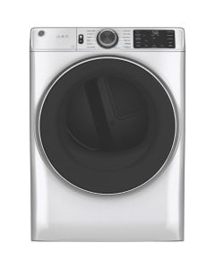 GE GFD65ESSNWW 7.8 Cu. Ft. 12-Cycle Electric Dryer with Steam - White On White
