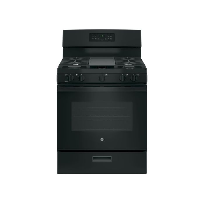 "GE JGBS66DEKBB 5.0 Cu.Ft. 30"" Gas Freestanding Range with 4 Burners - Black"