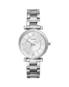 Fossil Women's Carlie Silver Dial Three-Hand Stainless Steel Crystallzied Bracelet Watch - Silver