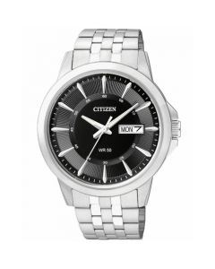 Citizen Men's Black Dial Stainless Steel Bracelet Watch - Silver