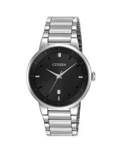 Citizen Men's Black Dial Stainless Steel Watch - Silver