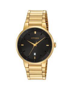 Citizen Men's Black Dial Stainless Steel Watch - Gold