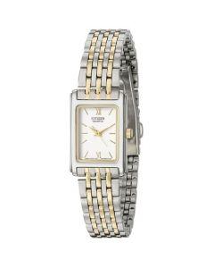 Citizen Women's Rectangular White Dial Stainless Steel Bracelet Watch - Silver/Gold