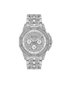 Bulova Men's Pavé Crystal Silvertone Dodecagon Bracelet Watch - Silver