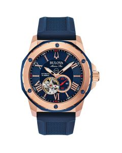 Bulova Men's Automatic Marine Star Strap Watch - Blue Silicone
