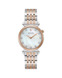 Bulova Women's Regatta Diamond Accent Bracelet Watch - Two Tone Silver