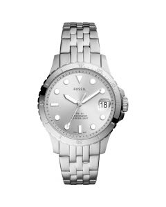 Fossil Women's Blue Diver Silver-Tone Stainless Steel Bracelet Watch 36mm