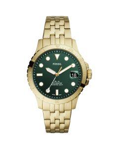 Women's Blue Diver Stainless Steel Bracelet Watch - Gold-Tone