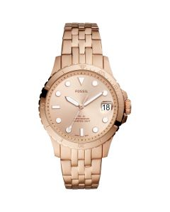 Fossil Women's  Stainless Steel Bracelet Watch - Blue Diver Rose Gold-Tone