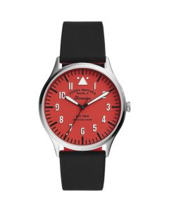 Fossil Men's Forrester Three-Hand Black Silicone Watch - Red