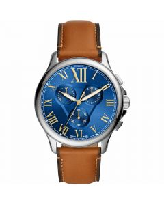 Fossil Men's Chronograph Monty Watch - Blue /Brown Leather Strap