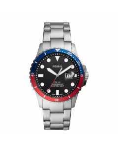 Fossil Men's Blue Diver Stainless Steel Bracelet Watch - Navy/Red