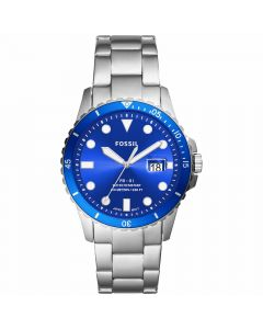 Fossil Men's Blue Diver Stainless Steel Bracelet Watch - Blue/ Silver