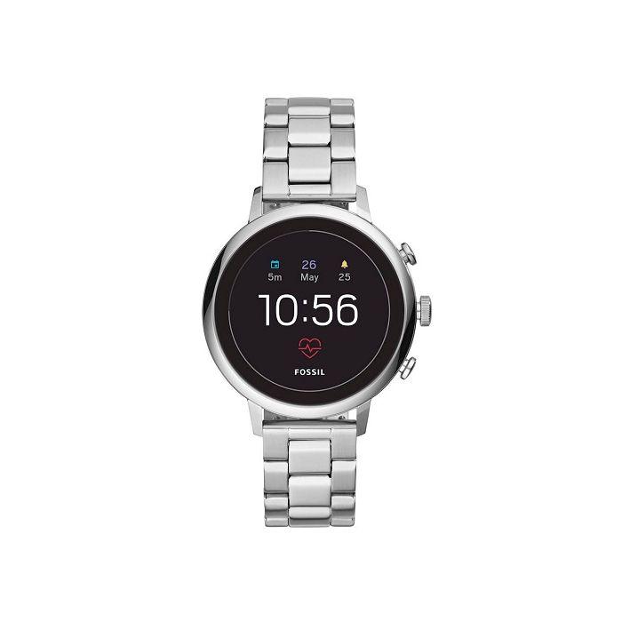 Fossil Gen 4 Venture HR Black Dial Stainless Steel Smartwatch - Silver
