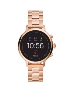 Fossil Gen 4 Venture HR Black Dial Stainless Steel Smartwatch - Rose-Gold