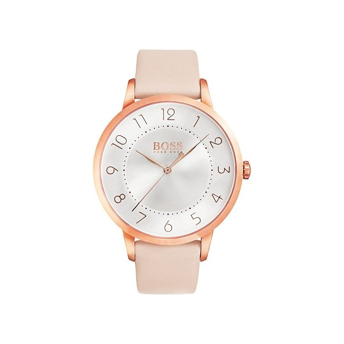 Hugo Boss Women's Eclipse Silver Dial Leather Strap Watch - Pink