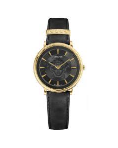 Versace Women's Swiss V-Circle Black Leather Strap Watch - Black