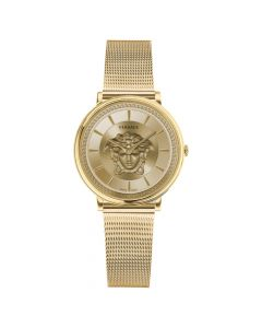 Versace Women's Swiss Gold Ion-Plated Stainless Steel Mesh Bracelet Watch - Black