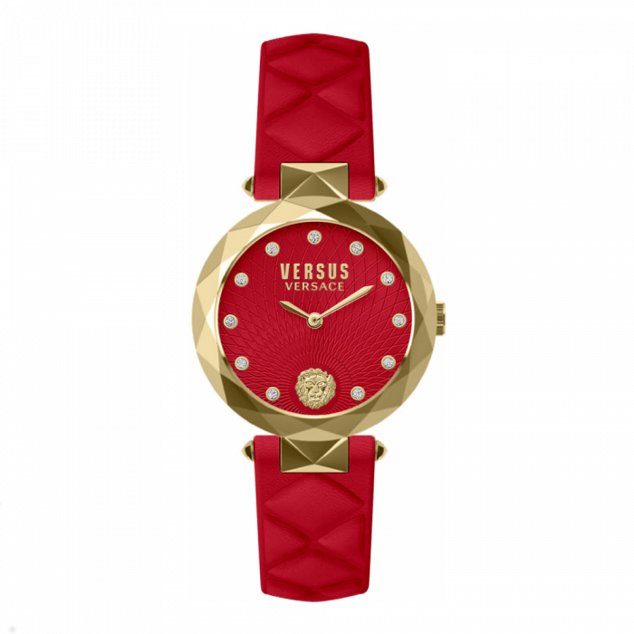 Versace Women's Versus  Stainless Steel Swarovski Crystal - Red Leather Strap Watch