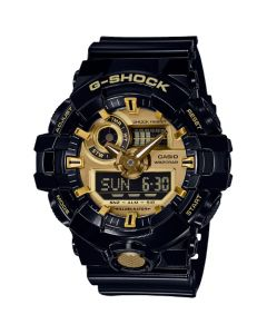 Casio G-Shock Men's Analog-Digital Black resin Strap Watch 54mm - Black and Gold