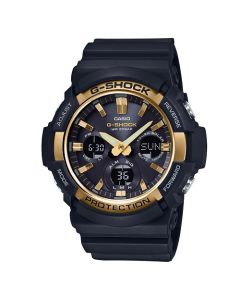 Casio G-Shock Men's Big Case Tough Solar Black-Gold Dial Resin Strap Watch - Black