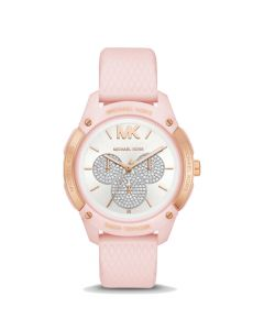 Michael kors Women's Ryder Embossed Silicone and Watch - Tone Rose Gold