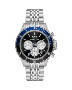 Michael Kors Men's Bayville Chronograph Stainless Steel Watch - Silver/ Blue