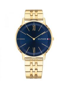 Tommy Hilfiger Cooper Men's Blue Dial Gold Ion-Plated Stainless Steel Bracelet - Gold