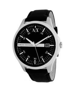 Armani Exchange Men's Watch Hampton Leather Strap - Black Dial
