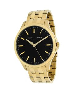 Armani Exchange Men's Watch Hampton Gold-Tone Stainless Steel - Black Dial