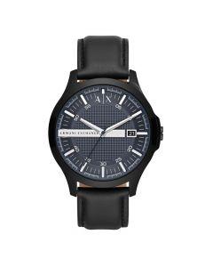 Armani Exchange Three-Hand Leather Watch - Black