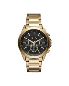 Armani Exchange Men's Watch Drexler Gold-Tone Stainless Steel - Black Dial