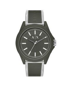 Armani Exchange Men's Drexler Green Polyurethane Strap Watch - Black/Drexler Green