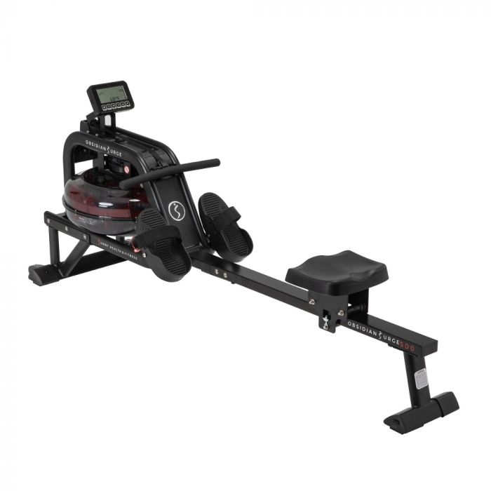 Sunny Obsidian Surge Water Rowing Machine Rower W/Lcd Monito