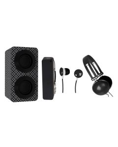 NAXA Electronics NAS-3061A Portable Bluetooth Stereo Speaker Entertainment Pack with Headphones - Earphones and Battery Pack - Black