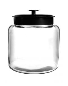 Anchor Hocking 1.5 Gallon Montana Glass Jar With Fresh Seal Lid - Black Metal - Set Of 1